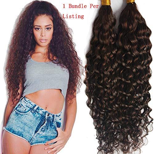 Hesperis Grade 8A Mongolian Virgin Hair Deep Curly Bulk Hair Weaving For Braiding 100% Unprocessed No Weft Human Hair Bulk Extensions 100g Per Bundle (24inch, 4) ()