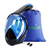 WONICE Snorkel Mask Full Face for Adults and Kids,180°Panoramic View Anti-Fog, Anti-Leak with Adjustable Head Straps,Compatible and Detachable GoPro Snorkeling & Swimming Mask (Black&Blue, S/M)