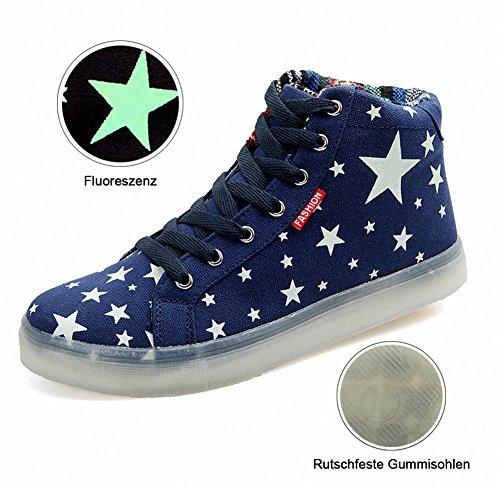 [Neues Muster] Leuchtende Nacht Segeltuchschuhe Sterne leuchten Schuhe Herrenschuhe(Blau,42EU)