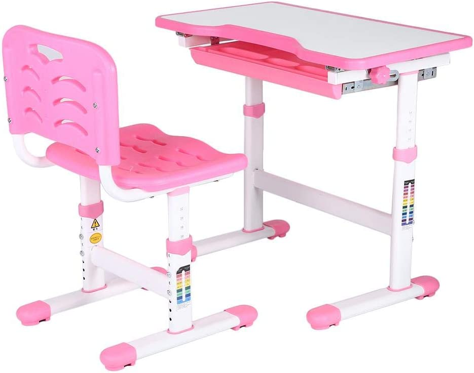 EBTOOLS Chlildrens Desk Chair Set,Adjustable Height Children Desk and Chair Set Multifunctional School Student Writing Desk Kids Study Table and Chair Set with Storage Drawer for Boys Girls Pink