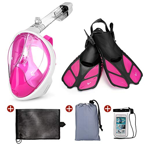 Odoland Snorkel Set, 5-in-1 Snorkel Mask Set with Full Face Snorkel Mask, Snorkel Fins, Beach Blanket, Portable Mesh Bag and Waterproof Phone Case, Best Snorkeling Gear for Adults & Youth, Pink
