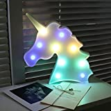 AIZESI Unicorn Night Light,Led Unicorn Lamps,Marquee Battery Operated Table Led Lights Wall Decoration for Girls Bedroom,Living Room, Christmas,Party as Kids Gift (Rainbow Head)