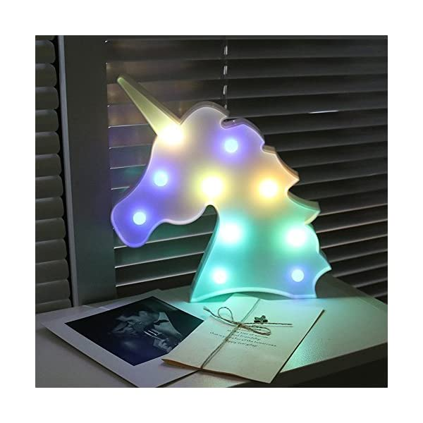 AIZESI Rainbow Colorful Unicorn Light,Unicorn Marquee Signs Unicorn Party Supplies,Unicorn LED Night Light Wall Decoration Room Decor,Desk Table Lamp,Kids Gift for Birthday Xmas(Rainbow Unicorn) 4