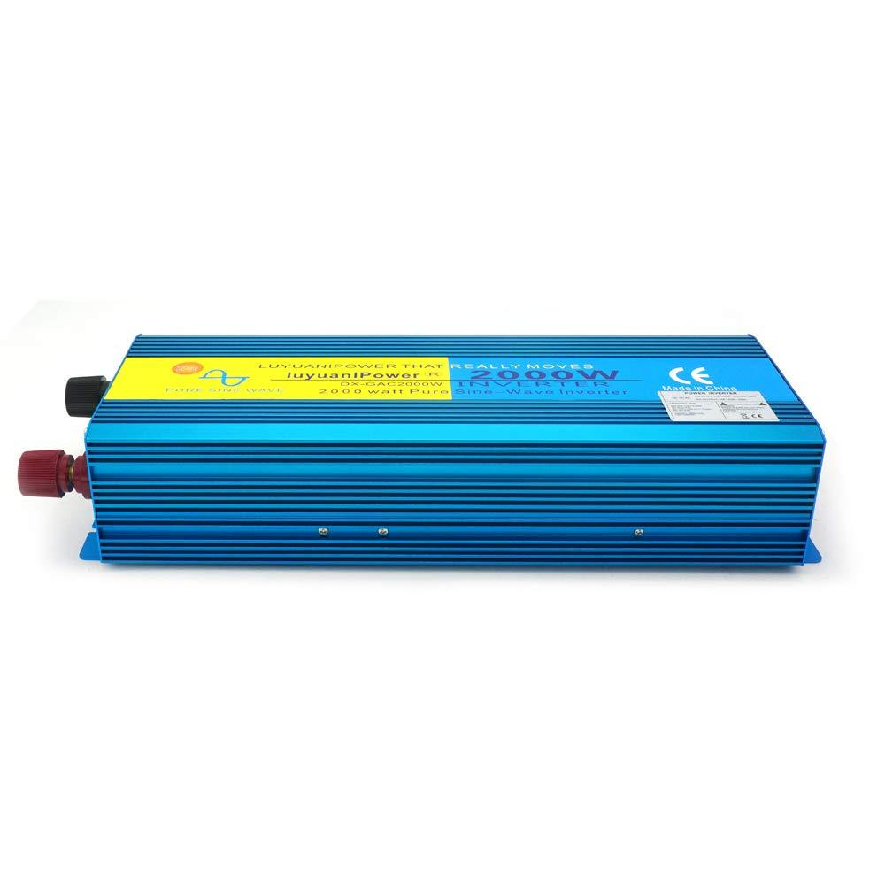 DC 24V to AC 230V Pure Sine Wave Power inverter 2 UK Sockets Soft Start converter with LCD DISPLAY CAR CARAVAN CAMPING BOAT Peak blue Yinleader 2019 NEW 2000W // 4000W