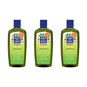 Kiss My Face Whenever Shampoo,  Shampoo with Green Tea & Lime, 11 Ounce (pack of 3)