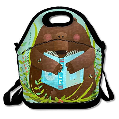 Lunch Bag Insulated Lunchbox Cooler Pouch Shopper Tote Bear Cub Reading Book Cute Cartoon Portable Fashion Cover Work