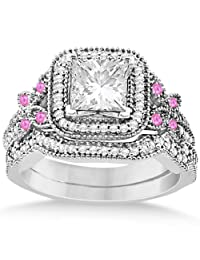 Pink Sapphire Accent Butterfly Halo Bridal Set Palladium 0.51ct (No center stone included)