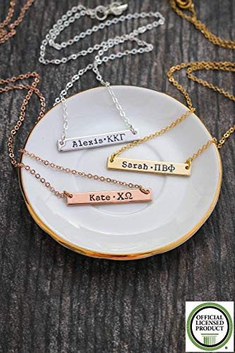 Omega Personalized Necklace (Sorority Gift Bar Necklace - DII ABC - Silver Rose Gold Personalized Greek Letters - Rush BSR Big Sister Reveal Gift - 33mm x 5mm)