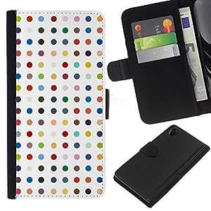 KingStore / Leather Etui en cuir / Sony Xperia Z2 D6502 / Modelo de lunares blanco en colores pastel del color