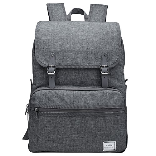 ULAK Laptop Backpack, Lightweight College School Backpack,Travel Every Day Backpack, Slim Anti Theft Computer Book Bags Water-Resistant Eco-Friendly Bag Fits Under 15.6' Laptop & Note Book- Grey