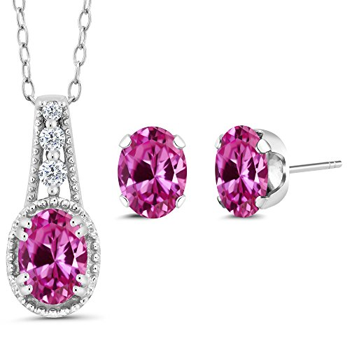 - Gem Stone King 2.28 Ct Oval Pink Created Sapphire 925 Sterling Silver Pendant Earrings Set
