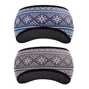 GoYonder Fleece Thermal Headbands Ear Warmers Ear Muffs (Set of 2 Colors) (Snowman Series)