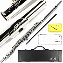 Engraved Design Italian Pads 16 Keys Close Hole  Silver Plated C Flute