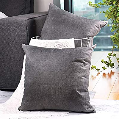 CZHO Pack of 2, Soft Decorative Faux Leather Pillow Covers, Square Modern Outdoor Cushion Case, Durable Rustic Throw Pillow Cover Shell for Couch Sofa Bed 18x18 Inch (Stone Grey) - Material: 100% durable Polyresin (not real faux leather, it is leather looking), very soft and enviroment-friendly. After receiving item, creases will come out when you insert throw pillow. PACKAGE: Include 2 pcs 18 x 18 Inch / 45X45cm Faux Leather Pillow Covers ONLY. NO CUSHION INSERTS. DESIGN: Same design / pattern on BOTH SIDES of these Faux Leather Cushion Covers. These REVERSIBLE pillow shams come with SEMI-HIDDEN ZIPPER (Sturdy and Smooth) for elegance. Full opening (18 Inch) on one side for EASY INSERTION and removal of pillows. Tight zigzag over-lock stitches to avoid fraying and ripping. - patio, outdoor-throw-pillows, outdoor-decor - 51zb0lVMXVL. SS400  -