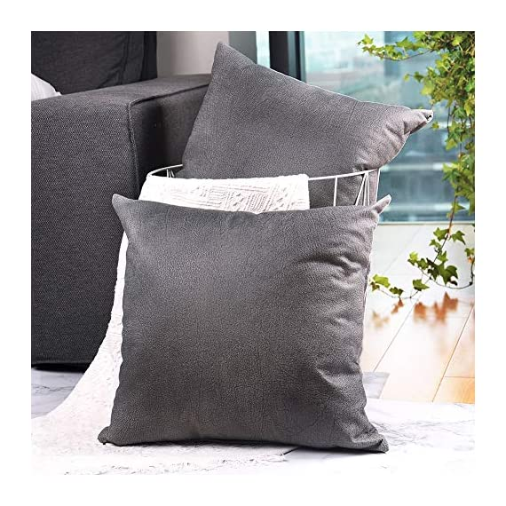 CZHO Pack of 2, Soft Decorative Faux Leather Pillow Covers, Square Modern Outdoor Cushion Case, Durable Rustic Throw Pillow Cover Shell for Couch Sofa Bed 18x18 Inch (Stone Grey) - Material: 100% durable Polyresin (not real faux leather, it is leather looking), very soft and enviroment-friendly. After receiving item, creases will come out when you insert throw pillow. PACKAGE: Include 2 pcs 18 x 18 Inch / 45X45cm Faux Leather Pillow Covers ONLY. NO CUSHION INSERTS. DESIGN: Same design / pattern on BOTH SIDES of these Faux Leather Cushion Covers. These REVERSIBLE pillow shams come with SEMI-HIDDEN ZIPPER (Sturdy and Smooth) for elegance. Full opening (18 Inch) on one side for EASY INSERTION and removal of pillows. Tight zigzag over-lock stitches to avoid fraying and ripping. - patio, outdoor-throw-pillows, outdoor-decor - 51zb0lVMXVL. SS570  -