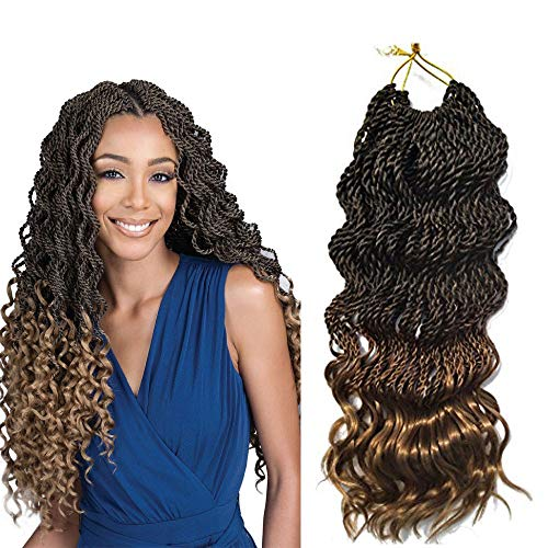 "6Packs 18'' Wavy Senegalese Twist Crochet Braid Hair Wavy Ends Synthetic Hair Extensions for Black Women (18"" 6packs, T1B/27)"