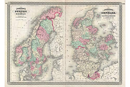 n, Norway and Denmark - 1870 Johnson Map - 1st Quality Antique Reproduction - 24 x 36 inches ()