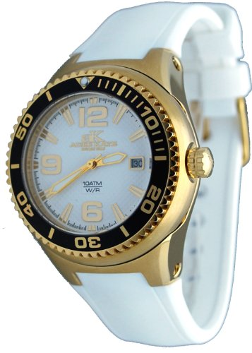 Adee Kaye #2230SS-LG Women's Neptune Collection Stainless Steel Silicone Band White and Gold Watch