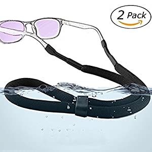 2 Pack Adjustable Sports Sunglasses Safety Holder Floating Retainer Strap Eyewear Retainer, Black