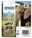 Epson C13T24254012 Claria Photo HD Ink Elephant 24 Series, Light Cyan, Genuine