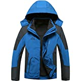 Menschwear Men's 3 in 1 Hooded Jacket Raincoat 2 pcs Coat Waterproof Softshell with Removable Fleece Liner
