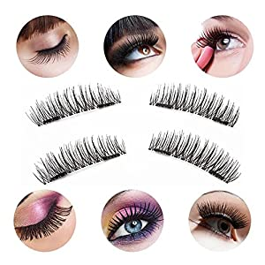 Upgraded Magnetic Eyelashes + Tweezers, Long Size and Half Size in One Set, 0.2mm Ultra Thin Magnetic False Eyelashes, 3D Reusable Fake Lashes, Natural Look 2 Pairs / 8 Pieces