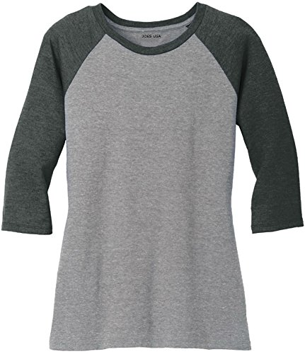 Description: Bella Ladie's Baseball Tee. Fabric is % ringspun and oz combed cotton. 3/4 Raglan sleeves and 1x1 baby rib knit for a super-soft feel. (Deep Heather/Black has some polyester content).