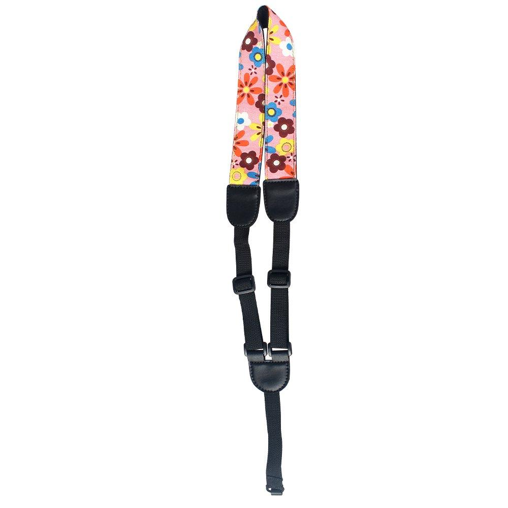 Hawaiian Style Button-Free Ukulele Shoulder Strap, Pink QT SKUS-012PINK