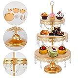 Cake Stands, 3 Tier Gold Cupcake Stands Glass Crystals Metal Crystal Cake Holder Cake Dessert Holder