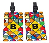 Letter B Monogram Vibrant Colors Stained Glass Design Design Plastic Flexi Luggage Identifier Tags + Strap Closure
