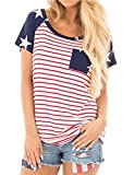 Kancystore Womens American Flag Striped and Stars Short Sleeve Blouse T-Shirt Tops