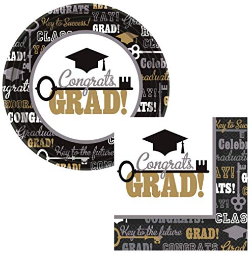 Graduation Party Supply Pack for 60 Guests - Bundle Includes Paper Plates & Napkins - Key to Success Design
