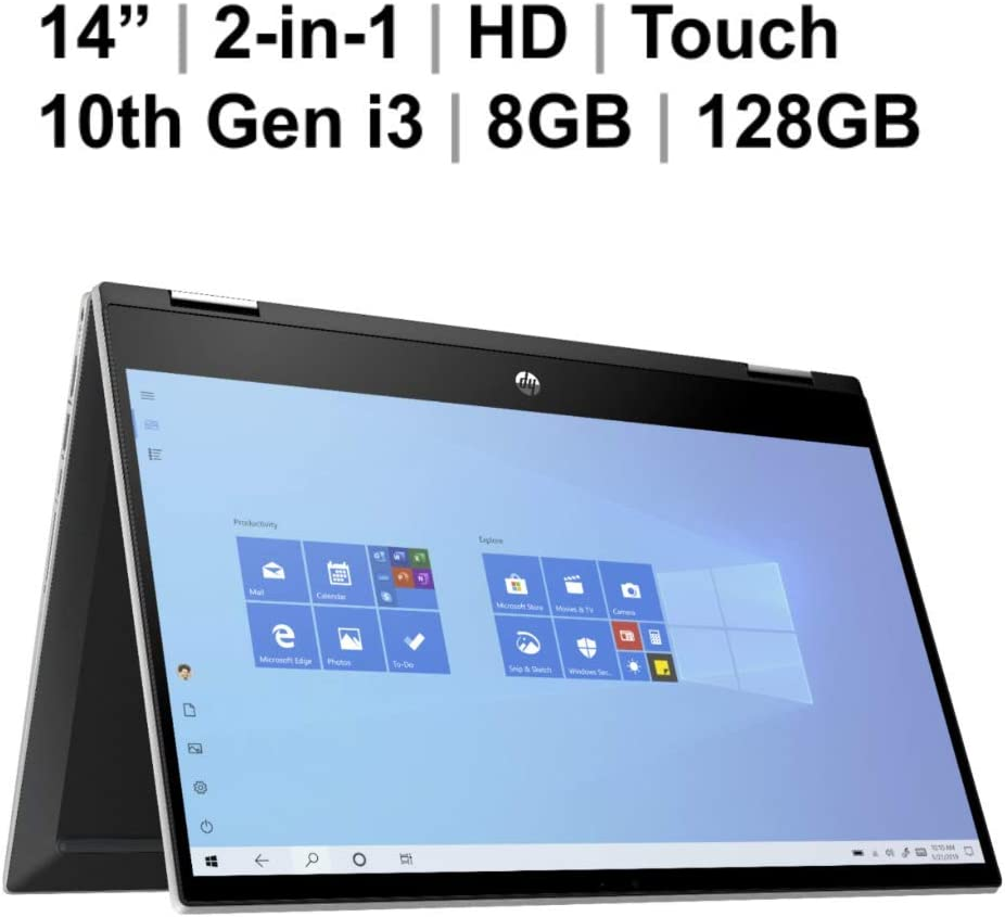 "2020 Newest HP Pavilion X360 2-in-1 Convertible 14"" HD Touch-Screen Laptop, 10th Gen Intel Core i3-1005G1(Up to 3.4GHz, Beat i5-7200U), 8GB RAM, 128GB SSD, WiFi 5, Webcam, Oydisen HDMI, Windows 10 S"