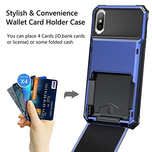 05f400deb863 Vofolen Case for iPhone Xs Case iPhone X Wallet ID Slot Credit Card Holder  Scratch Resistant Dual Layer Protective Bumper Rugged TPU Rubber Armor Hard  ...