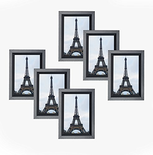 MDF Wood Black Contemporary Picture Frame 4X6 Photo Display with PVC Lens, Easel Back, Hanging Clip   6 PIECE SET (Black, Set of - Foldable Picture Frame