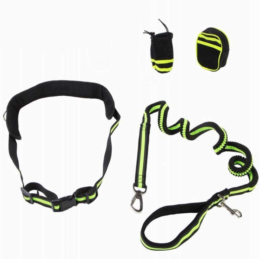 Walking Belt Reflective Strip Jogging for Dogs with 2 Pack Bags Adjustable Dog Hands Free Leads
