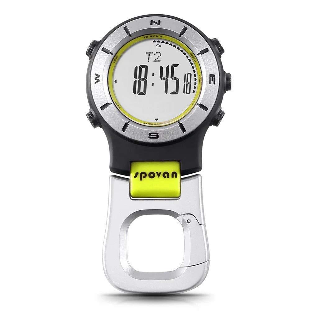 SPOVAN Smartwatch Höhenmesser-Barometer-Kompass-LED-Clipuhren Sportuhren Angeln Wandern Klettern Taschenuhr,Weiß