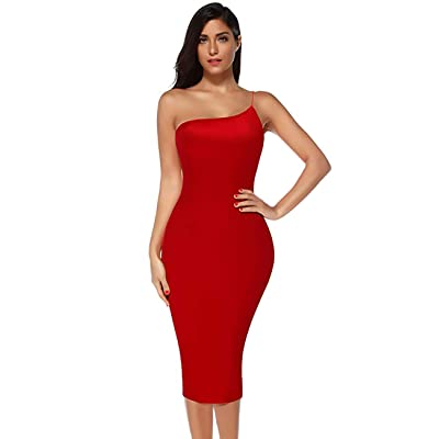 FUNMART Women's One Bodycon Dress Rayon Strap Cocktail Evening Party Dress: Clothing