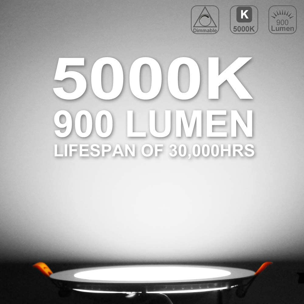 5000K Daylight White CRI80+ Slim Panel Wafer Light with Junction Box YGS-Tech 13W 6 Ultra-Thin LED Recessed Ceiling Light Dimmable Downlight 900Lumens 100W Equiv
