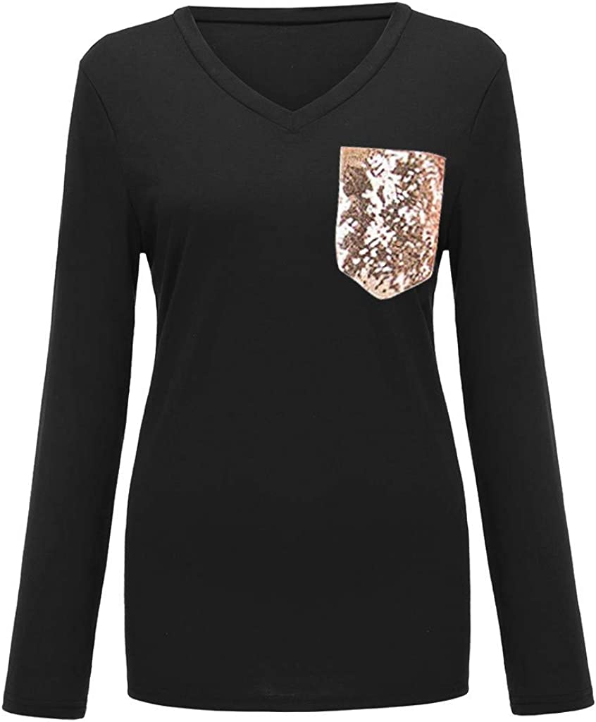 Womens Sequin Pocket Summer Tops Short Sleeves V Neck T Shirt Casual Basic Tees with Side Slits