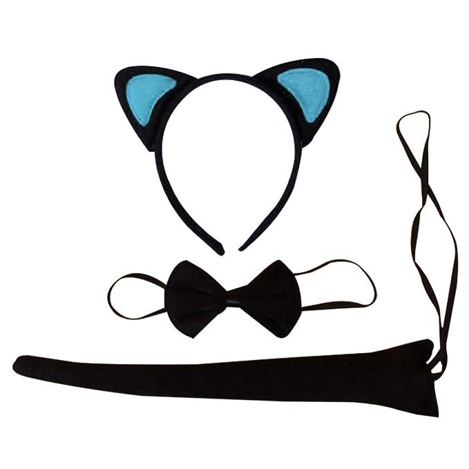Women Kid Black Pink Cat Kitty Costume Ear tail bowtie Party Hair headband set