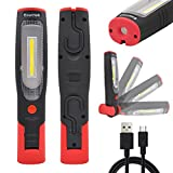 Rechargeable LED Work Light Portable Cordless LED Mechanic Inspection Lamp LED Torch Light- Front 3W COB LED and Top 3W LED- Foldable, Magnetic, Dual Hooks- Essential Work Job Tool by Enuotek