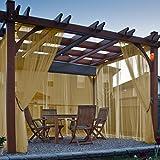 cololeaf Indoor Outdoor Sheer Curtain For Patio| Porch| Gazebo| Pergola | Cabana | dock| beach home| backyard| country| garden| wedding - Rod Pocket - Khaki 52'' W x 84'' L (1 Panel)