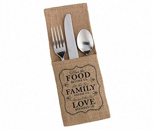 100pcs/Lot ''FOOD FAMILY LOVE'' Burlap Silverware Holders Rustic Wedding Reception Table Decoration Cutlery Pockets by JetkyShop