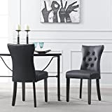 Belleze Dining Faux Leather Tufted Accent Living Room Nailhead Button Side Chairs (Set of 2) Black