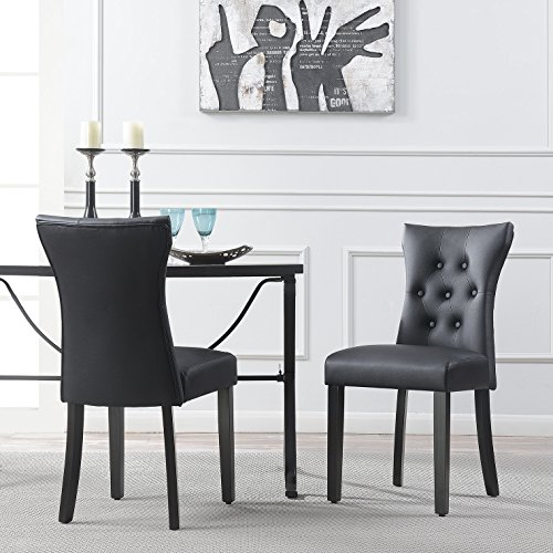 Belleze Dining Faux Leather Tufted Accent Living Room Nailhead Button Side Chairs (Set of 2) Black - Black Upholstered Side Chair