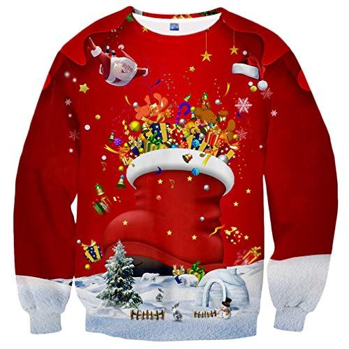 Yasswete Unisex Christmas Shoes Gift for Kids Crewneck Sweatshirts Sweater Size L