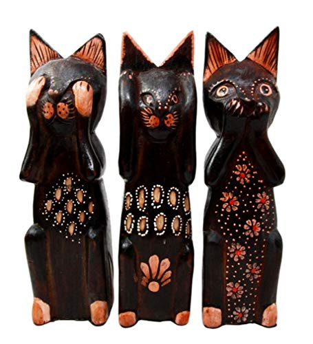 Ky & Co YK Balinese Wood Handicrafts Wise See Hear Speak No Evil Coastal Cat Figurines Set