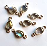 1 Piece 92.5 Sterling Silver Labradorite Smooth Pear shape Gemstone Connector size - 6X13 mm Approx M No. - 1948