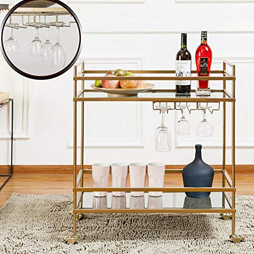 (Rolling Cart 2 Tier, Kitchen Hotel Bar Wine Rack Mobile Cart, Multi-Function Cosmetic Rack Trolley Gold Wrought Iron 723682cm)